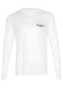 Balmain - Long Sleeve Embroidered Balmain Paris on Chest - BRM005060 - White