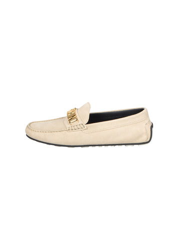 Moschino - Suede Driving Shoe Loafer Gold Finish Letters On Front - 099129 - Beige