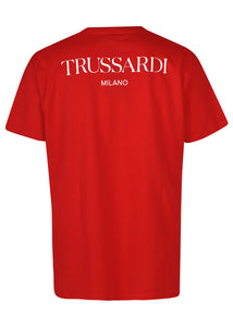 Trussardi- Crew neck T Shirt  new graphic reworking of the iconic Trussardi Levriero detail- 100334 - Red
