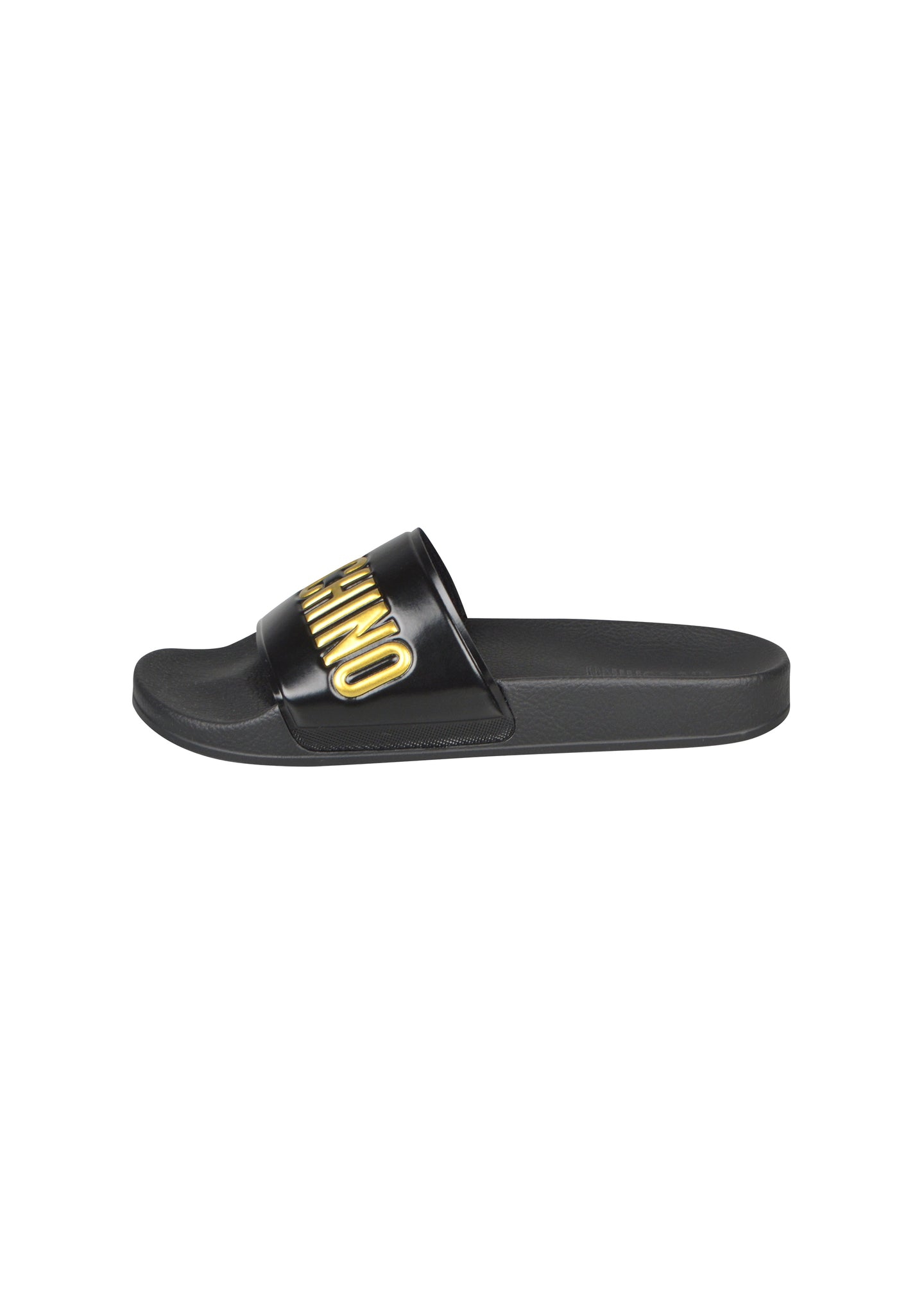 Moschino - Pool Sliders Gold Embossed Letters - 100049 - MB28022G1BG1G00A - Black Gold