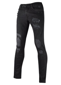 True Religion - Skinny Rip And Repair Biker Jean - 096136 - Black