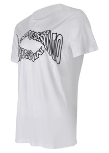 Moschino - Crew Neck T-Shirt Warp Wave Moschino Print - 100011 - A07027040 - White