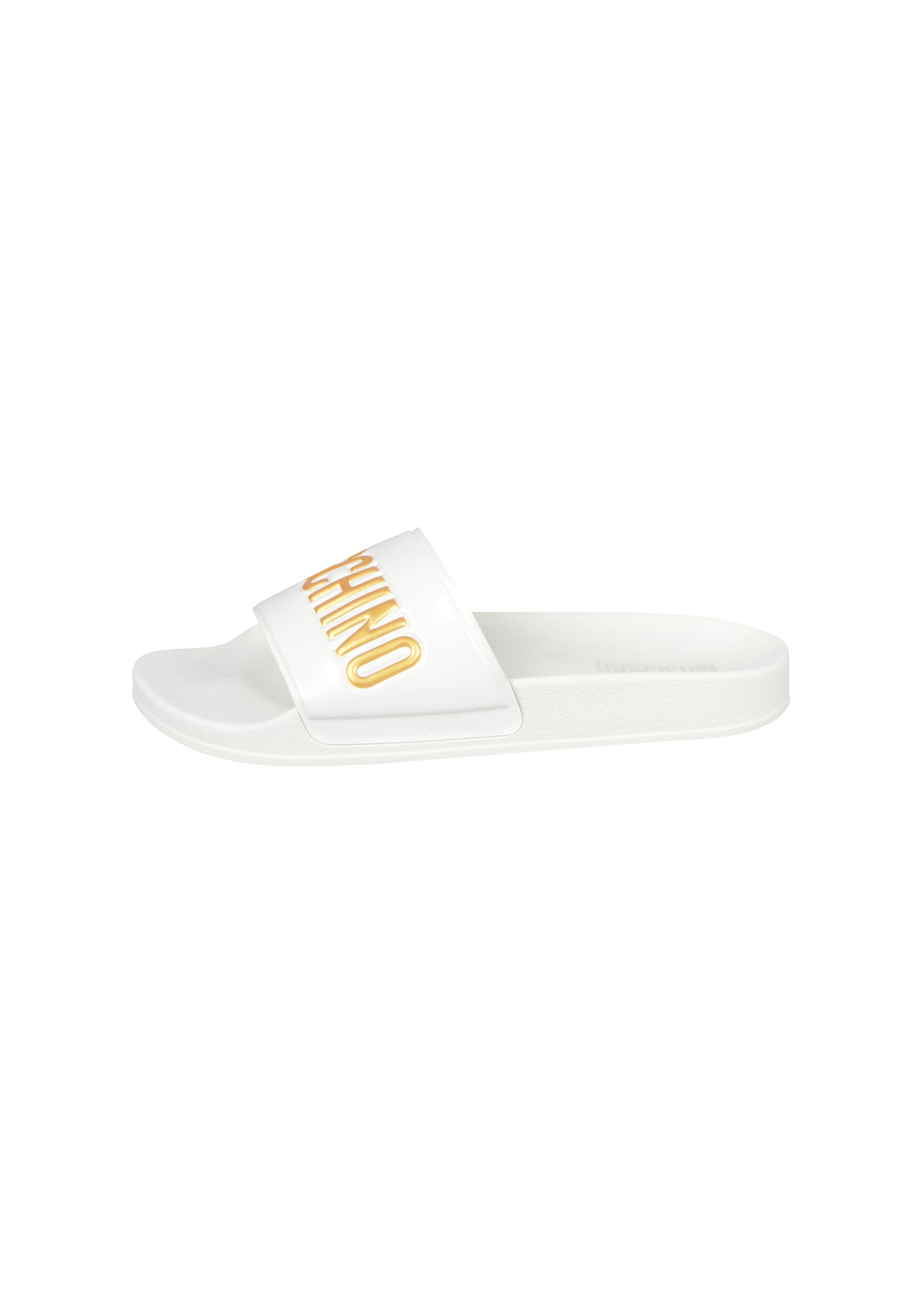Moschino - Pool Sliders Gold Embossed Letters - 100049 - MB28022G1BG1G00A - White Gold
