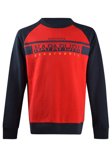 Napapijri - Crewneck Contrasting Colour Block Sweatshirt - 100309 - Red Navy