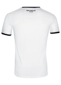 Balmain - Crewneck Contrast Neck and Sleeve Detail Iconic B Embroidered On Chest Paris on Back - 099032 - White