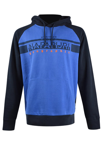 Napapijri - Hooded Colour Block Sweatshirt With Front Logo Print - 100311A - Navy Blue