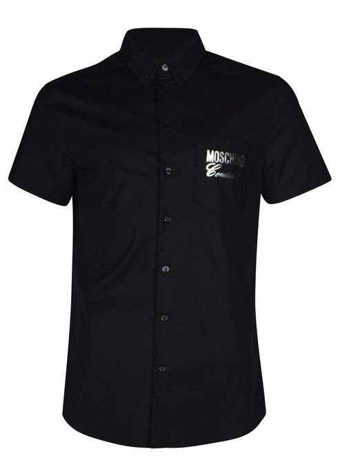 Moschino - Short Sleeve Stretch Fitted Cotton Moschino Silver Logo - Black