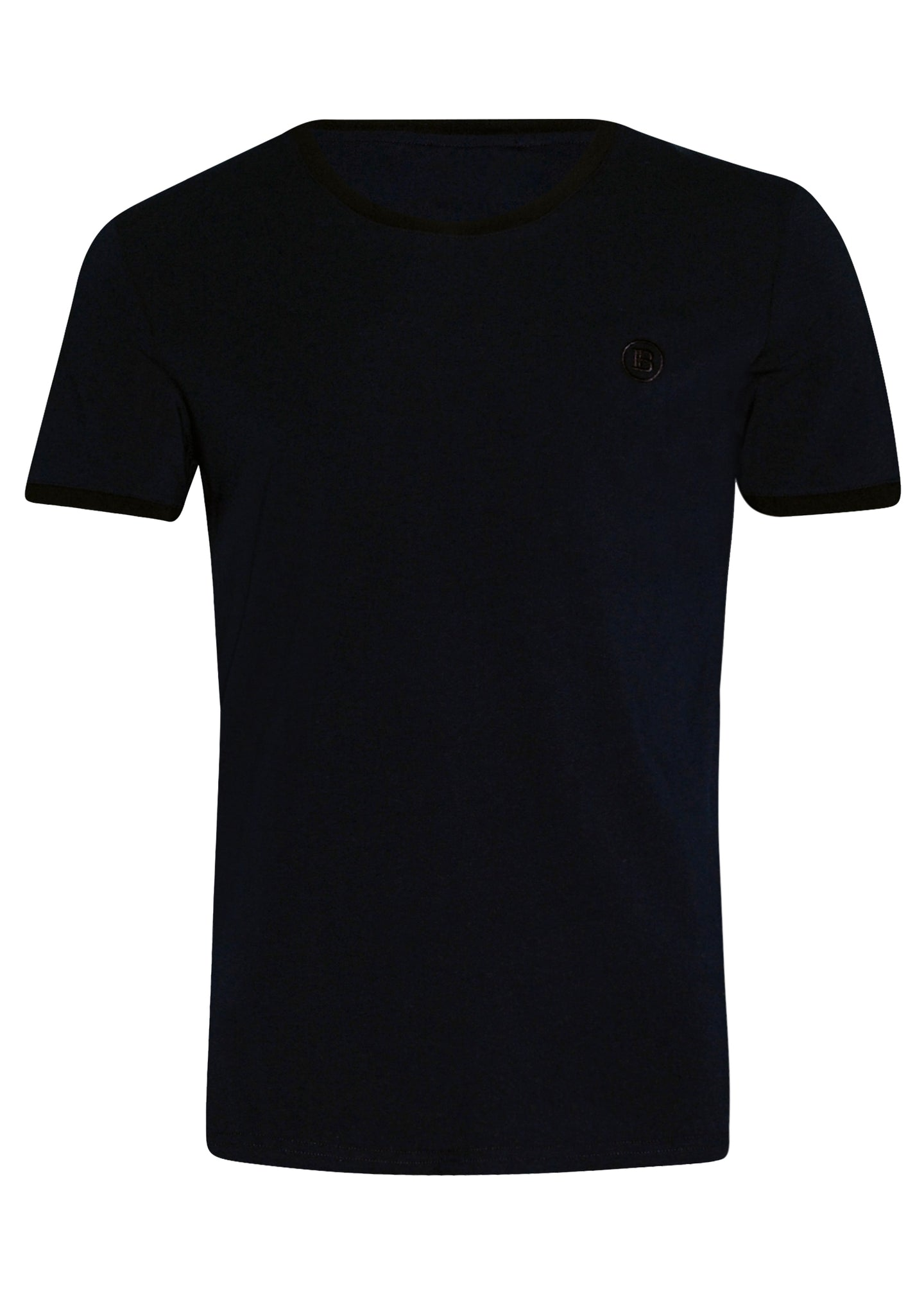 Balmain - Crewneck Contrast Neck and Sleeve Detail Iconic B  Embroidered On Chest Paris on Back - 100156 - Navy