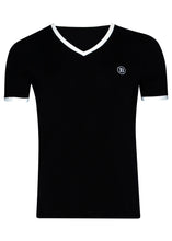 Balmain - Short Sleeve V Neck T-Shirt Iconic B Embroidered on Chest Balmain Paris Back - 099036 - BRM805020 - Black