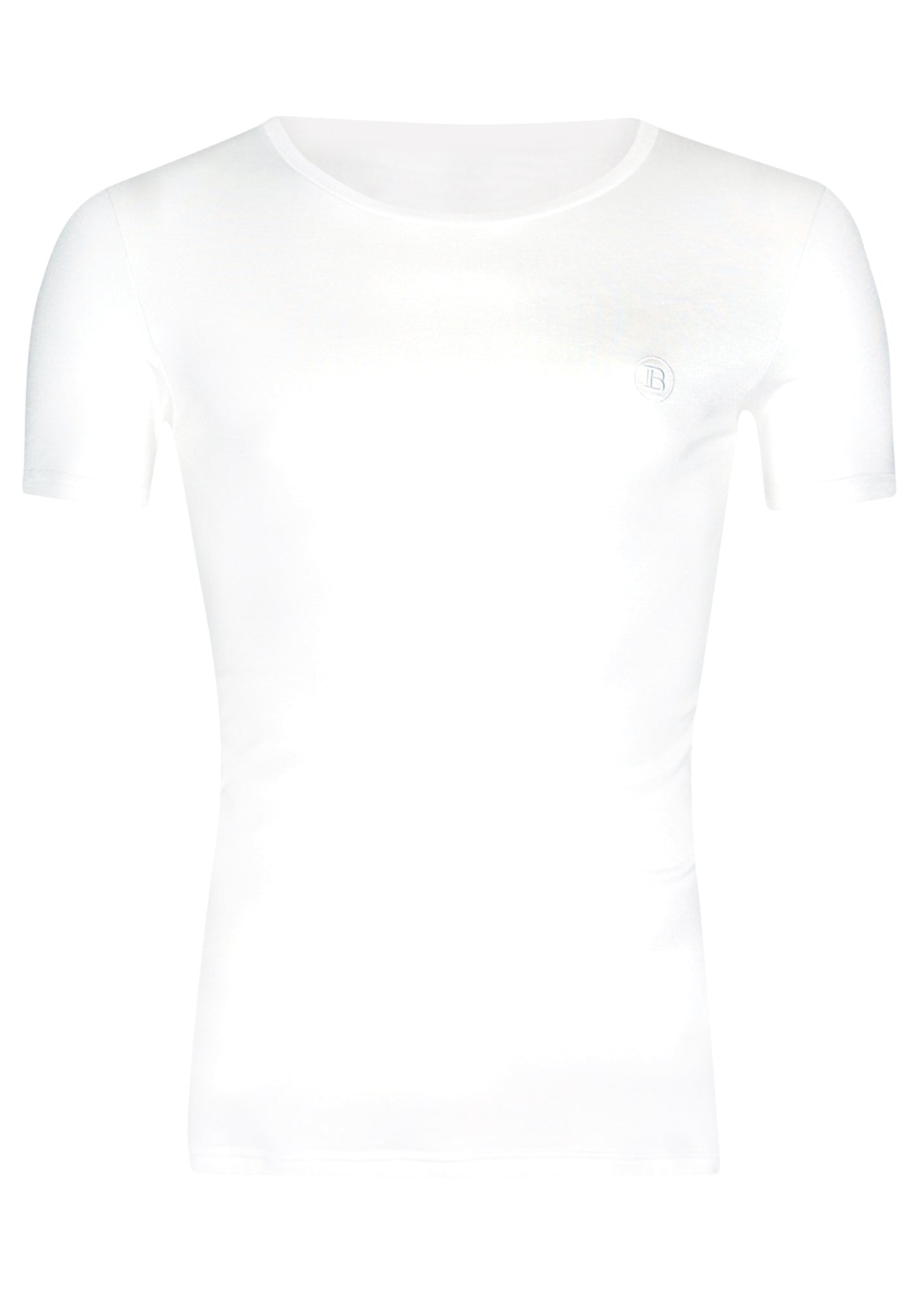 Balmain - Crewneck Short Sleeve  T Shirt Self Embroidered B on Chest Balmain PARIS on Back - 099034 - White