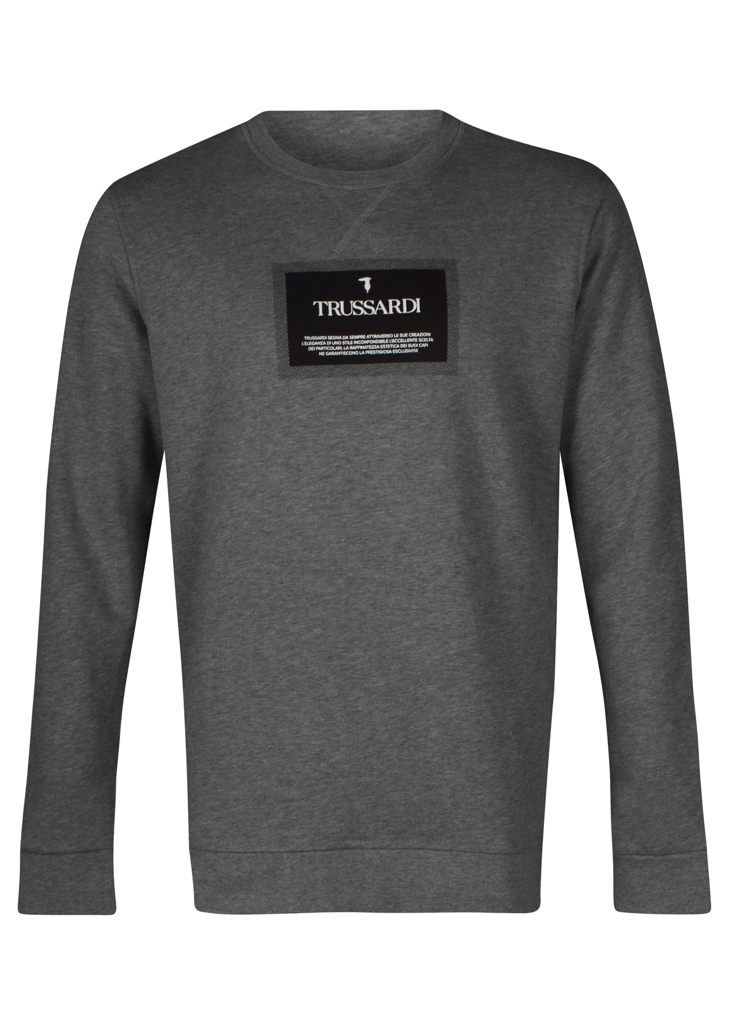 Trusardi- Crewneck Sweatshirt Box Logo Trussardi Badge - 100332 - Grey