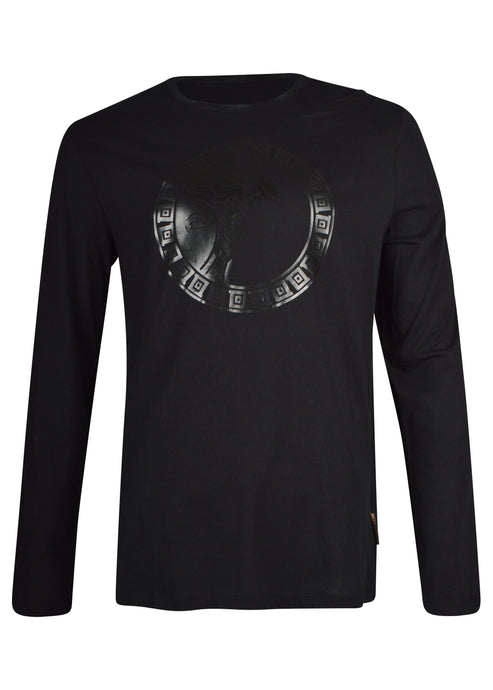 Versace Collection - Long Sleeve Iconic Tonal Big Half Medusa - 098124 - V800491R - Black Black