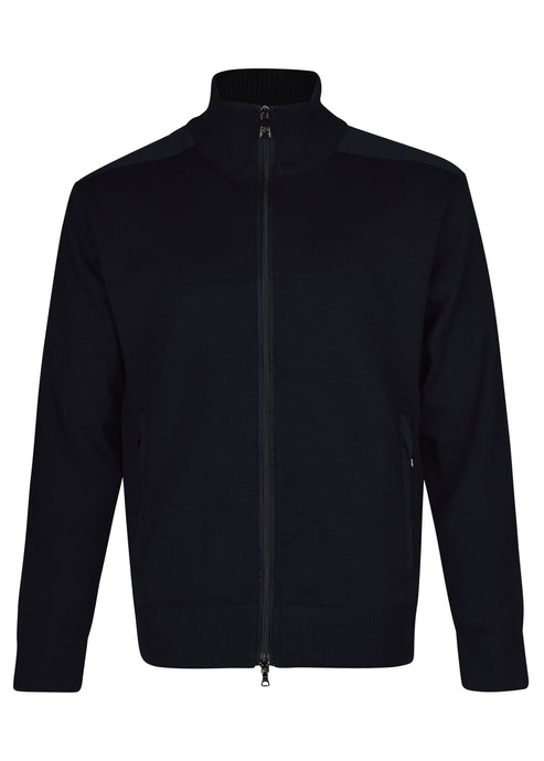 Paul & Shark - Classic Zip Through Heavy Knit Funnel Neck Jacket - Navy