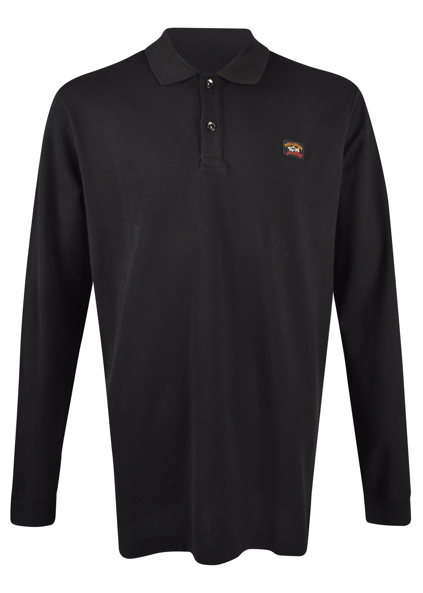 Paul & Shark - Long Sleeve Pique Polo Small Badge on Chest - 100183 - Black