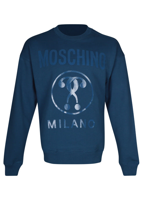 Moschino - Crew Neck Double Question Mark Print - A17047027 - Blue