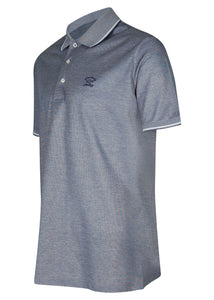 Paul & Shark - Short Sleeve Oxford Polo Embroidered Small Chest Logo Under Collar Detail - Navy