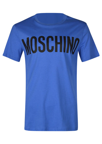 Moschino - Crew Neck T-Shirt Classic Block Moschino Logo Chest - 100019 - J07057040 - Blue BR