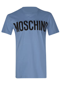 Moschino - Crew Neck T-Shirt Classic Block Moschino Logo Chest - 100019 - J07057040 -  Blu 2281