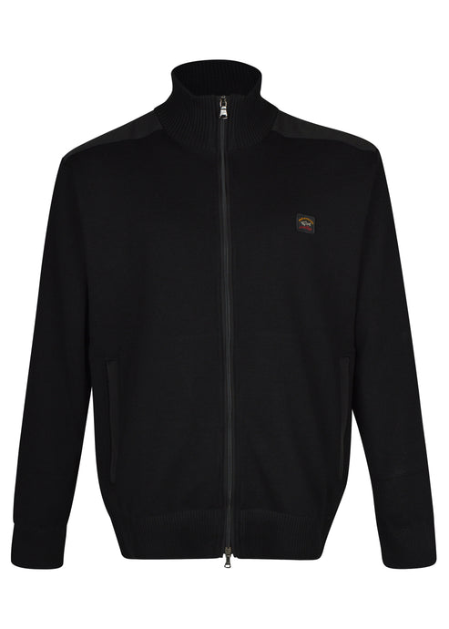 Paul & Shark - Classic Zip Through Heavy Knit Funnel Neck Jacket - Black