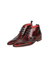 Jeffrey West - K497 Leather Boots Hi - 100293 - Red
