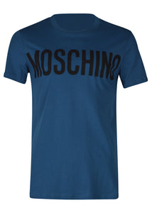 Moschino - Crew Neck Tshirt Classic Block Moschino Logo Chest - 100019 - J07057040 - Blue 1310