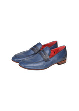 Jeffrey West - Leather Loafer Muse Collection Mock Lizard Detail - 099260 - Navy