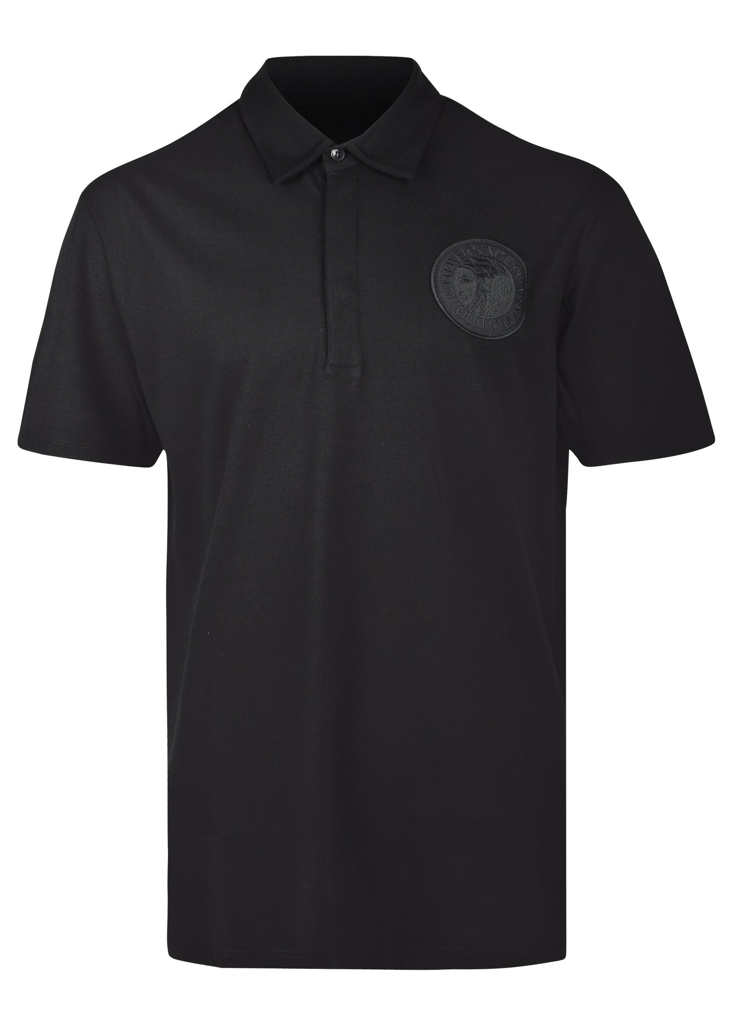 Versace Collection - Short Sleeve Iconic Half Medusa Embroidered Logo - 0999027 - V800753C - Black