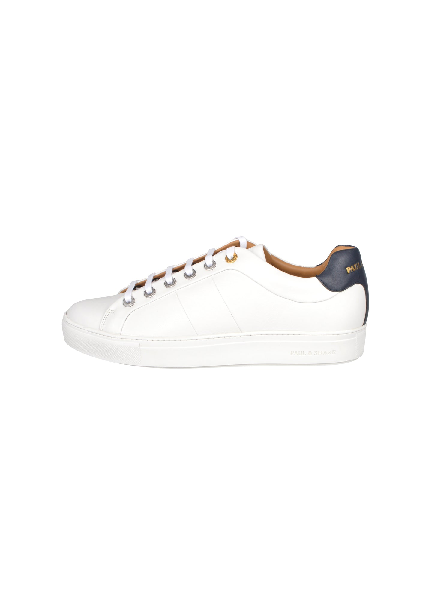 Paul & Shark - Trainer Leather Upper Cup Tennis Style Lace Up - 099417 - White