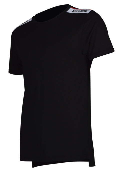 Moschino - Short Sleeve Crew T-Shirt Multi Colour Tape Shoulder - 100079 - A1916 - Black