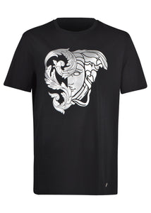 Versace Collection - Short Sleeve Iconic Silver Foil Half Medusa T-Shirt - 098000 - V80083R - Black Silver