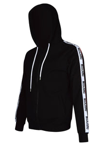Moschino - Tape Arm Detail Zip Through Hooded Track Jacket - 200067 - Black