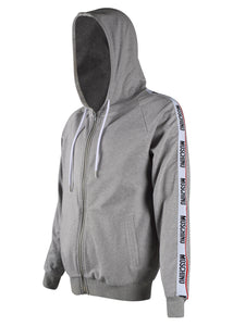 Moschino - Tape Arm Multi Logo Detail Zip Through Hooded Track Jacket - 100090 - A17078106 - Grey