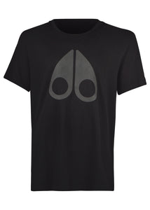 Moose Knuckles - La Plante T-Shirt- Large Tonal Iconic Logo - Carbon Black