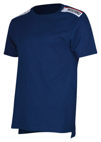 Moschino - Short Sleeve Crew T-Shirt Multi Colour Tape Shoulder - 100079 - A1916 - Navy
