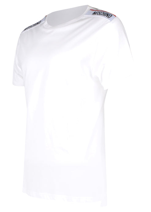 Moschino - Short Sleeve Crew T-Shirt Multi Colour Tape Shoulder - 100079 - A1916 - White