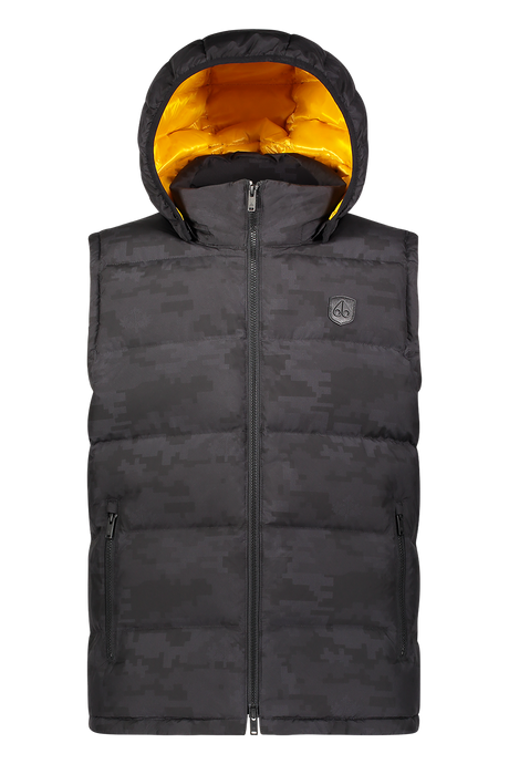 Moose Knuckles - Kilcona Hooded Gilet Black - Camouflage - Yellow Lining