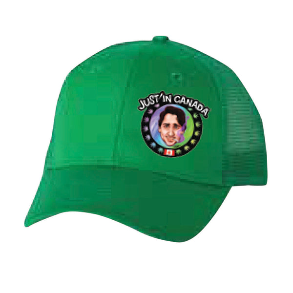 Justin Trudeau psychedelic green cap