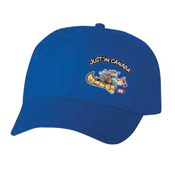 Just'in Canada blue moose in a canoe cap