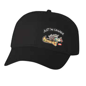 Just'in Canada black moose in a canoe cap
