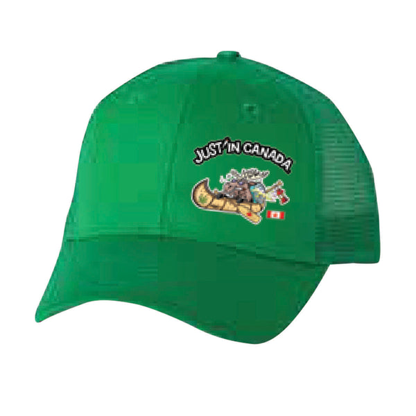 Just'in Canada green moose in a canoe cap