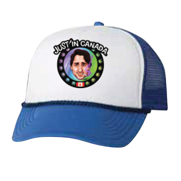 Justin Trudeau psychedelic blue mesh cap