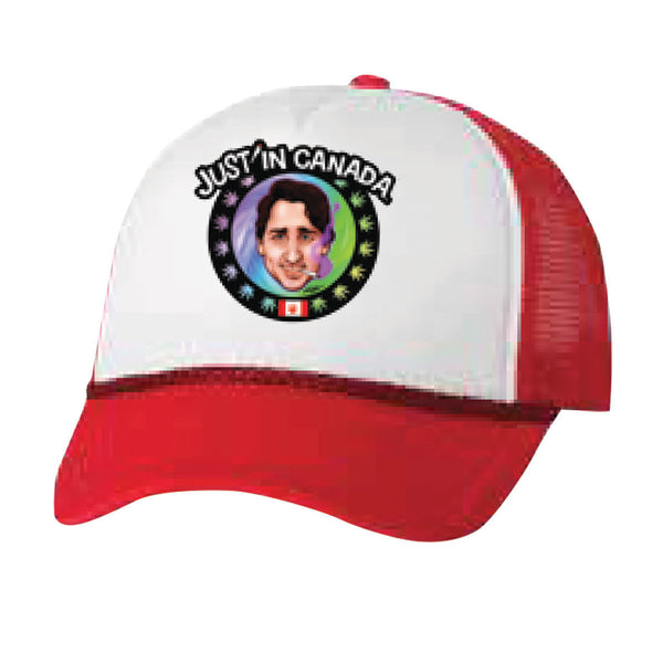 Justin Trudeau psychedelic red mesh cap