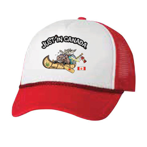 Just'in Canada moose in a canoe red mesh cap