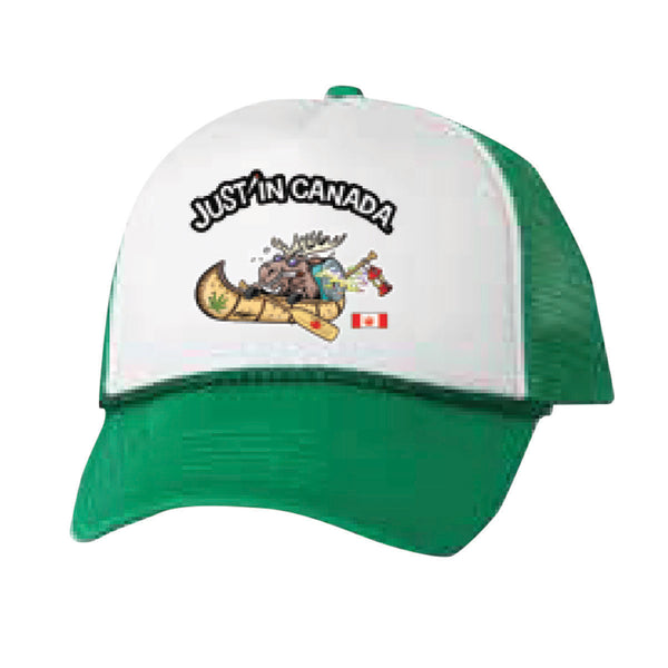 Just'in Canada moose in a canoe green mesh cap
