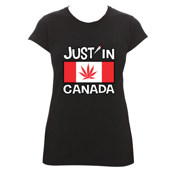 Canadabis flag womens T‑shirt