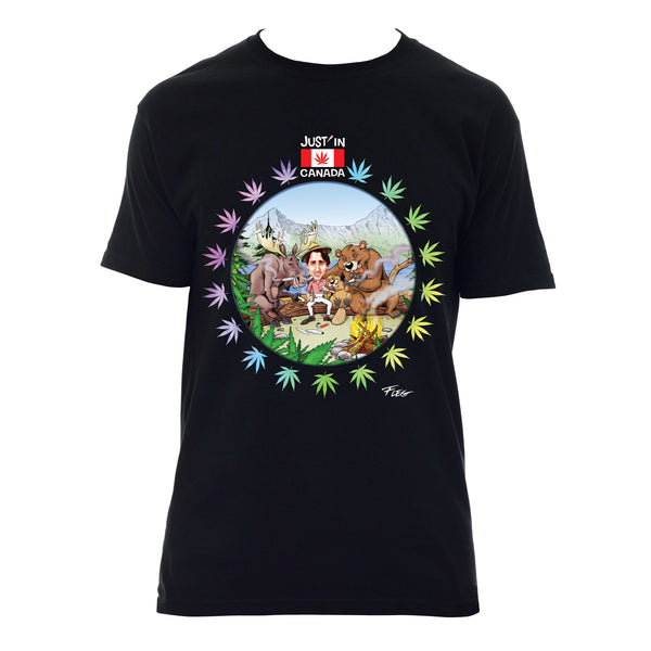 Canadian wildlife smoking with Justin Trudeau T‑shirt