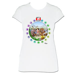 Canadian wildlife smoking with Justin Trudeau womens T‑shirt