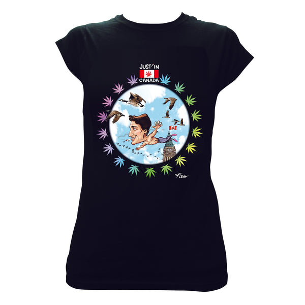 Justin Trudeau flying with birds womens black T‑shirt