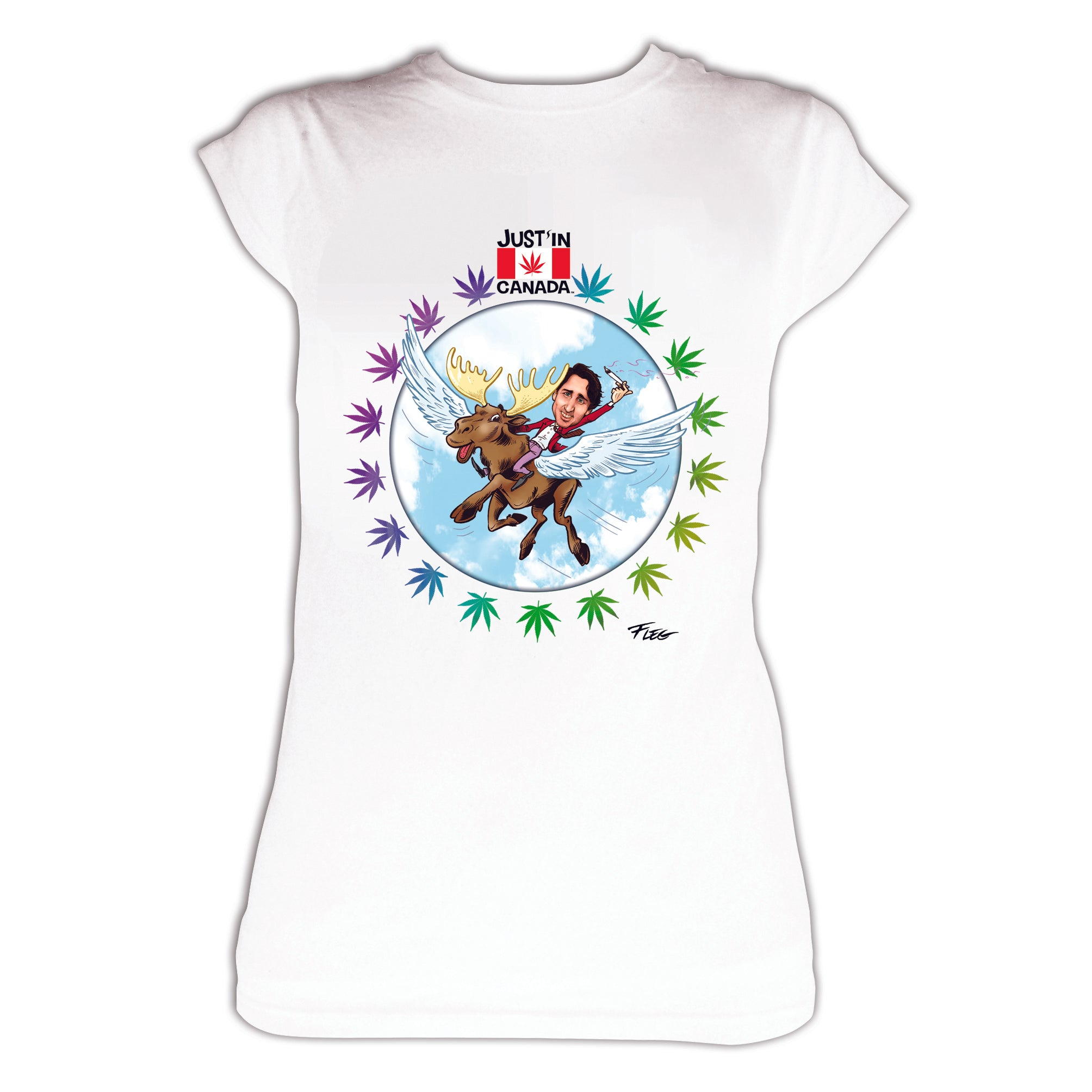 Justin Trudeau flying high on a moose womens T‑shirt