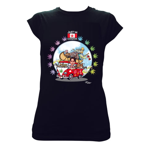 Justin Trudeau womens black T‑shirt